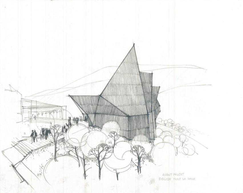 Khalil Khouri_Architecture_Mont la Salle School church_Perspectiv