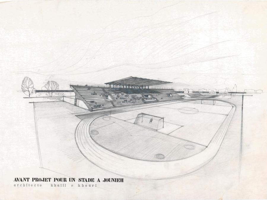 Khalil Khouri_Architecture_President Fouad Chehab Municipal Stadium_Perspective.j