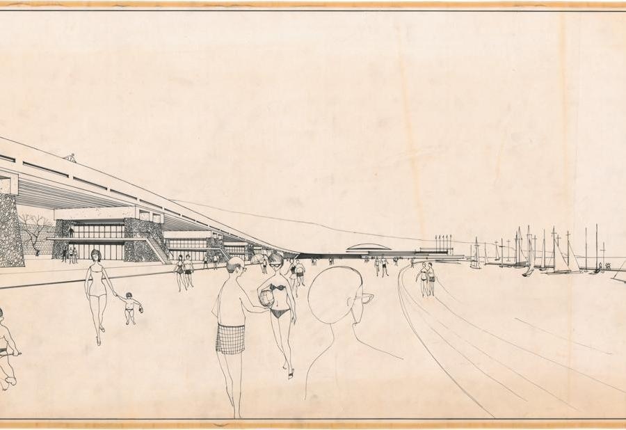 Khalil Khouri_Architecture_Proposal for elevated coastal bridge over public beach_Perspective