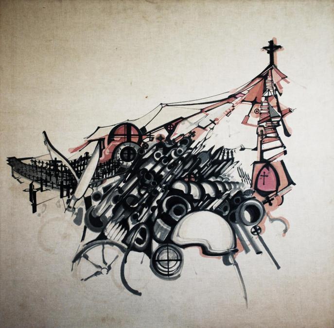 Khalil Khouri_Drawings_Abstract 5_Felt pen on canvas