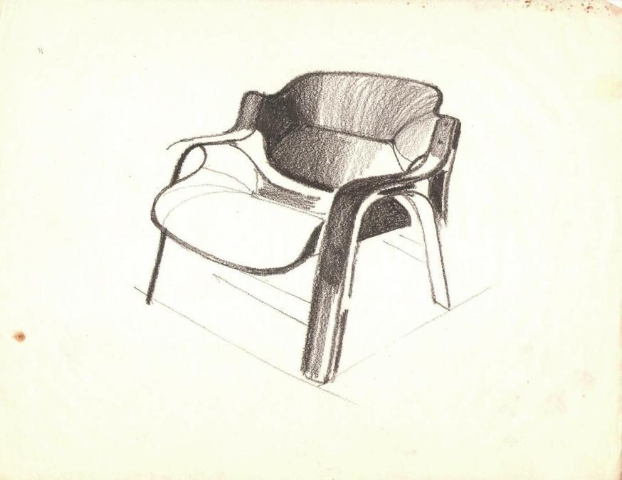 Khalil Khouri_Furniture_Cologne fat arm chair_Drawing