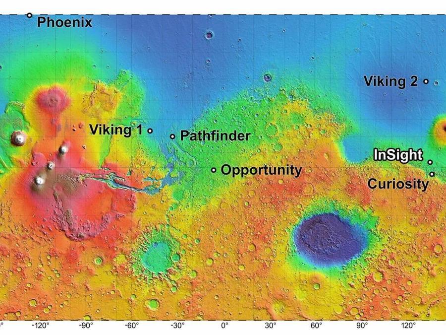 Questa immagine messa a disposizione dalla NASA mostra una mappa dei siti di atterraggio per le missioni attuali e passate della NASA sul pianeta Marte. (NASA via AP)