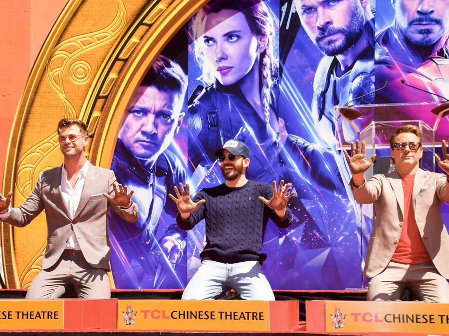 Chris Hemsworth, Chris Evans, e Robert Downey Jr.  (Matt Winkelmeyer/Getty Images/AFP)