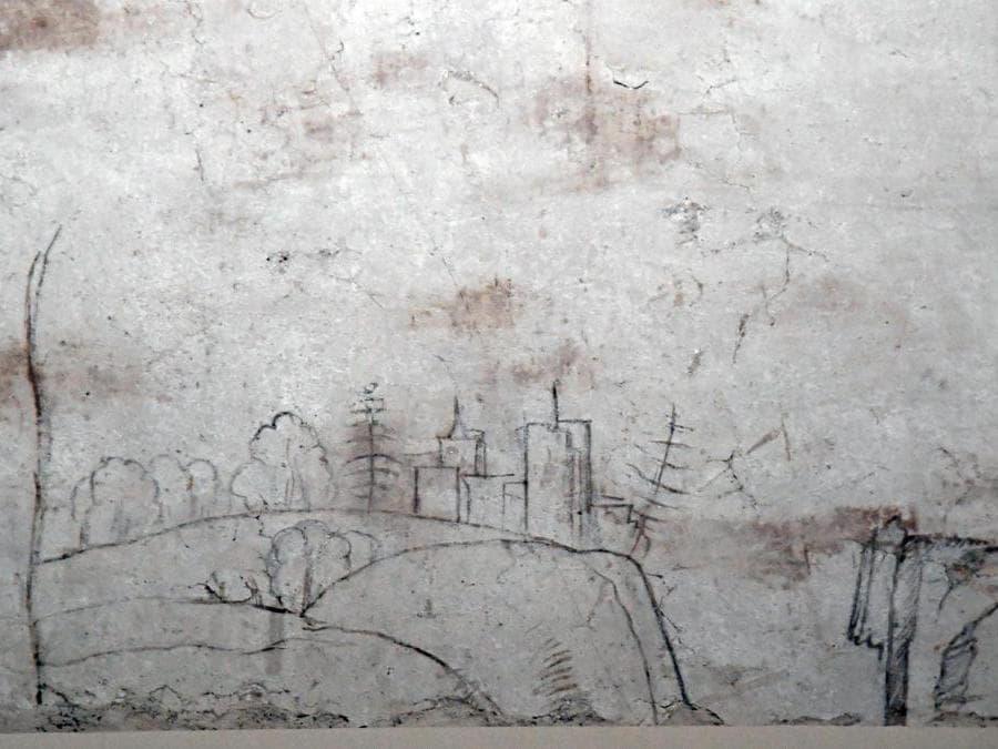 Uno dei disegni a carboncino, tracce di disegni preparatori attribuiti a Leonardo da Vinci, nella Sala delle Asse dipinta da Leonardo. ANSA/DANIEL DAL ZENNARO