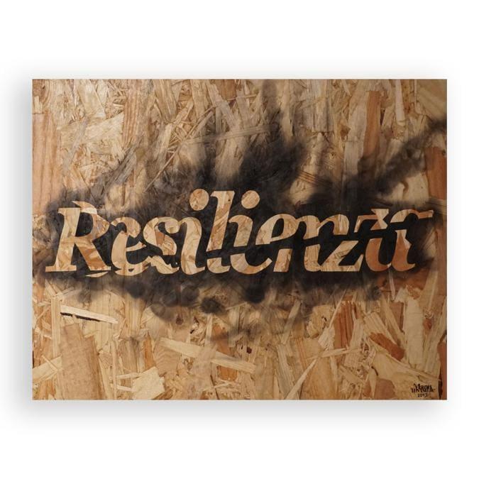 Resilienza. Fumo su osb 50,5x40x6 cm  -  2018