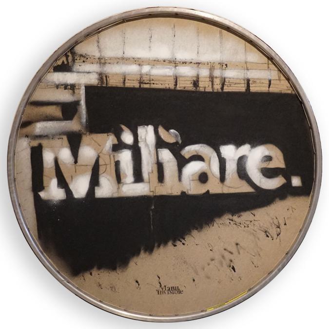 Miliare. Spray su tela e cerchio di bicicletta  Ø 62 cm  -  2018