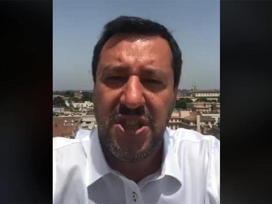 12 giugno 2019, Roma. Il vicepremier e ministro dell'Interno Matteo Salvini in una diretta Facebook: Camilleri, scrivi che ti passa (Ansa)
