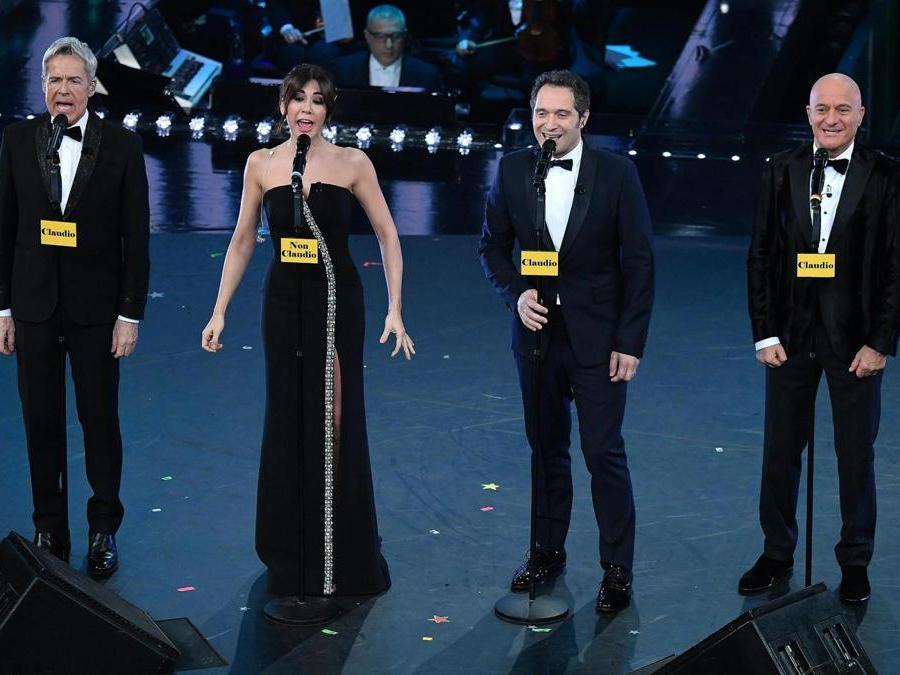 Claudio Baglioni,  Virginia Raffaele,  Claudio Santamaria e  Claudio Bisio (Ansa / Ettore Ferrari)
