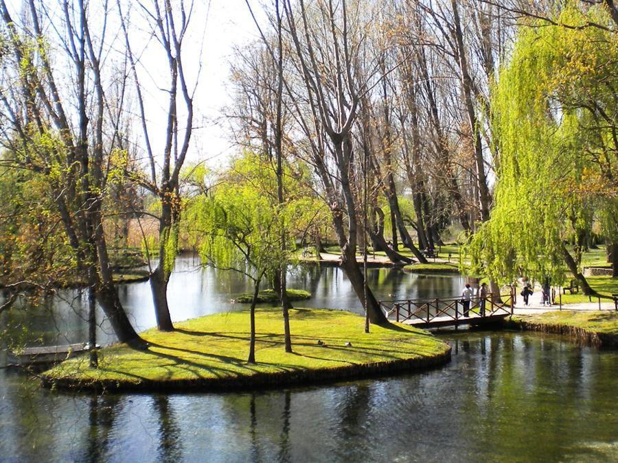 """UMBRIA: Parco delle Fonti del Clitunno, Fonti del Clitunno, Spoleto: le Fonti del Clitunno sono un luogo di incanti situato lungo la via Flaminia, fra Spoleto e Foligno, nel comune di Campello sul Clitunno. Di fatto si tratta di un parco naturalistico che custodisce le sorgenti del fiume Clitunno, cantate da così tanti poeti (da Virgilio a Giovenale, da Byron a Carducci), da essere conosciute anche come """"Le Sorgenti dei Poeti"""". Il parco, di 10.000 metri quadrati, è recintato e aperto al pubblico tutto l'anno. Le acque sorgive danno luogo a una successione di rigagnoli, polle, pozze, e a un piccolo lago, dalle acque cristalline, che, grazie alla vegetazione che lo circonda, acquistano incredibili sfumature dal verde, al turchese, all'azzurro, al blu. Vi vivono cigni e altri uccelli acquatici, pesci, anfibi, piante palustri e acquatiche, come equiseti, Myosotis palustri, Ranunculus aquatilis, e vi si specchiano pioppi cipressini e salici piangenti (Salix babylonica). Gli antichi Romani ritenevano sacre le sorgenti, che fino al terremoto del 440 d.C. erano assai più abbondanti, poiché pensavano che nelle acque del fiume da loro creato abitasse il dio Giove Clitunno. Lo celebravano con feste primaverili, dette Clutunnali. Poco oltre, costruirono il Tempietto del Clitunno, dichiarato Patrimonio dell'Umanità dall'UNESCO."""