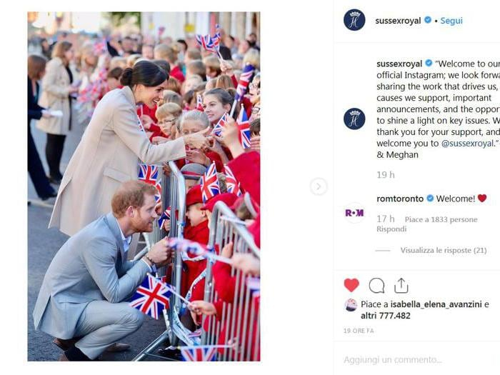 Meghan e Harry sbarcano su Instagram: boom di follower