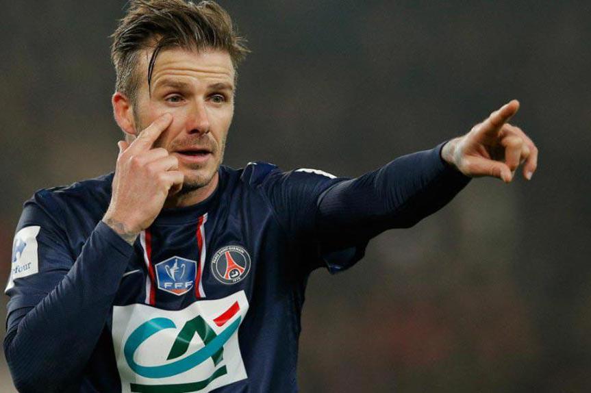David Beckham con la maglia del Paris Saint Germain