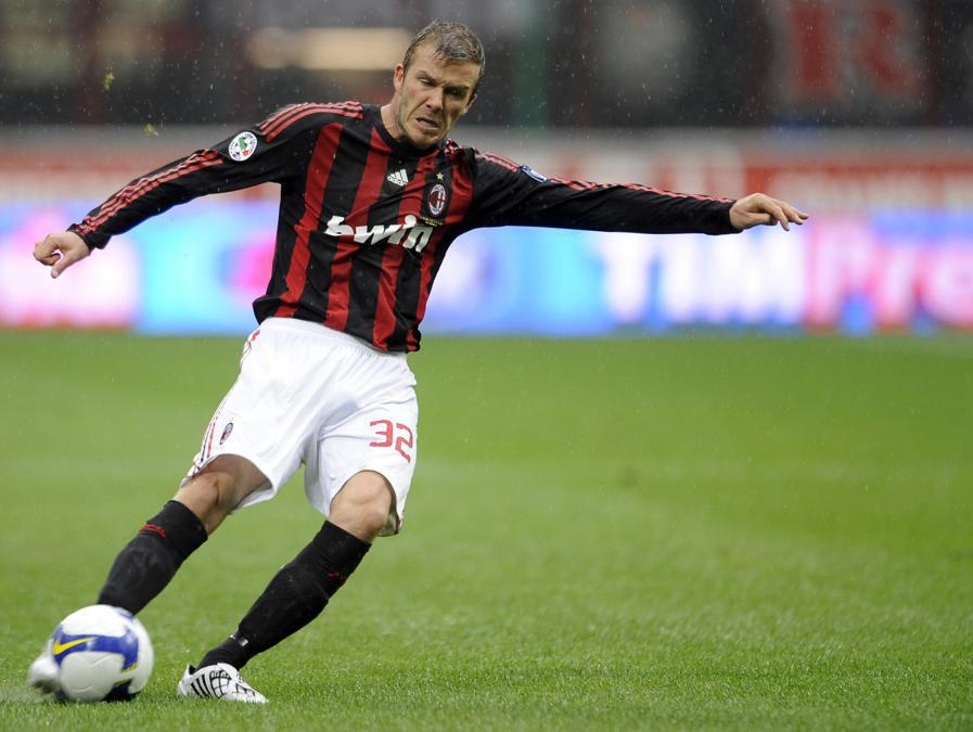 David Beckham con la maglia del  Milan. (Afp)