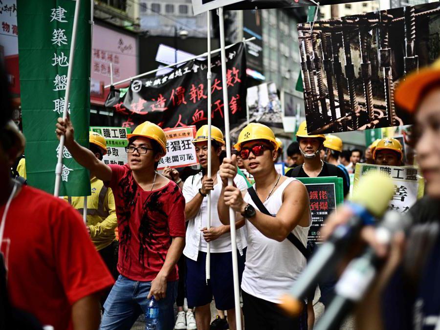 Raduno del primo maggio,  Festa dei lavoratori, a Hong Kong . (Photo by Anthony WALLACE / AFP)