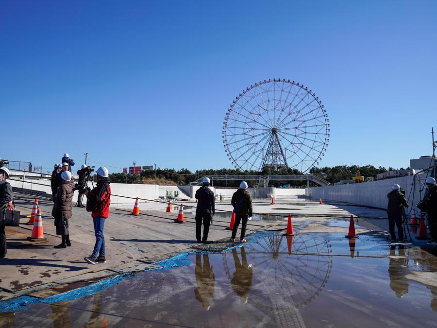 Tokyo 2020. Il cantiere Kasai Canoe Slalom Center. (Epa/Christopher Jue)