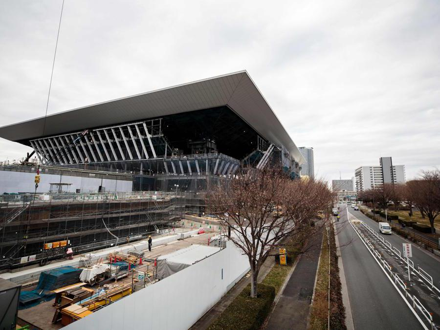 Tokyo 2020. Il cantiere dell'Olympic Aquatic Centre.  (Photo by Behrouz MEHRI / AFP)