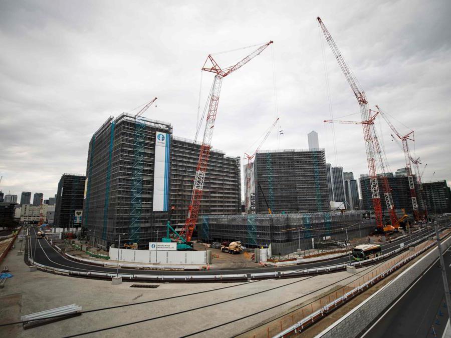 Tokyo 2020. Una veduta generale del Villaggio Olimpico in costruzione.  (Photo by Behrouz MEHRI / AFP)