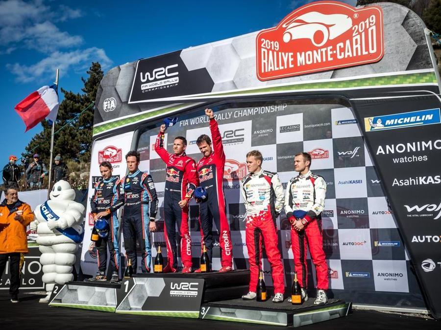 Il podio del Rallye di Monte-Carlo 2019. I vincitori OGIER Sebastien (FRA), INGRASSIA Julien (FRA), CITROEN C3 WRC, CITROEN TOTAL WRT, I secondi classificati NEUVILLE Thierry (BEL), GILSOUL Nicolas (BEL), HYUNDAI I20, HYUNDAI SHELL MOBIS WRT, i terzi classificati TANAK Ott (EST), JARVEOJA Martin (EST), TOYOTA YARIS, TOYOTA GAZOO RACING WRT  ( Photo Thomas Fenetre / DPPI/Afp)