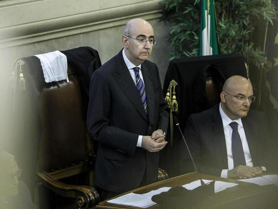Il presidente dell' Ordine degli avvocati di Roma Mauro Vaglio durante la cerimonia  (ANSA/GIUSEPPE LAMI)