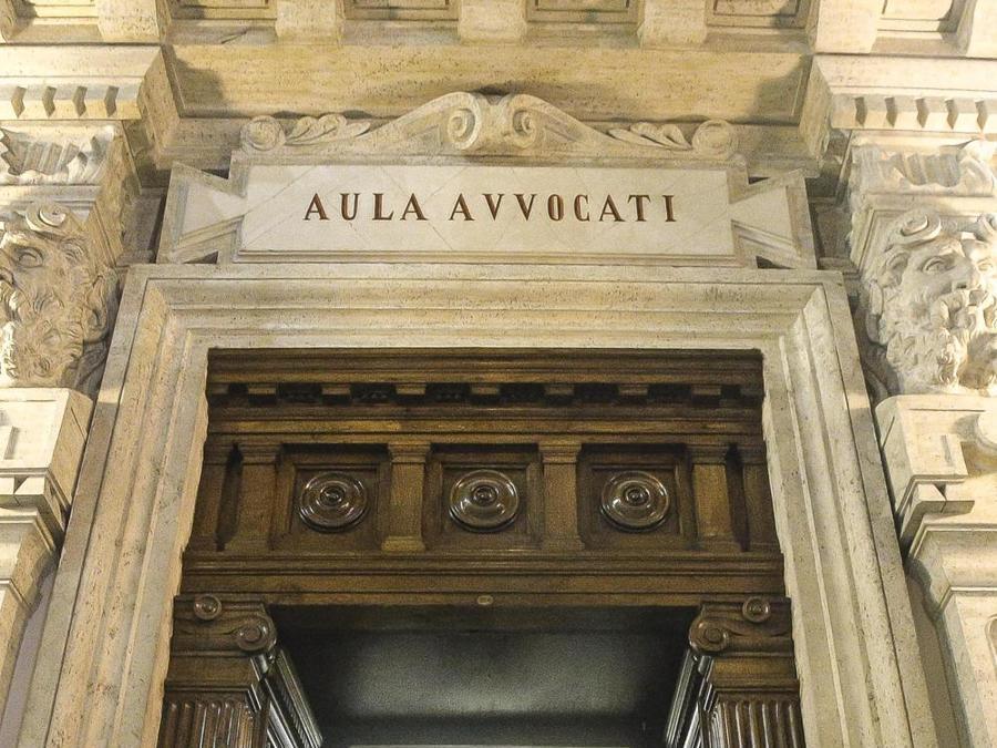 Esterno dell'aula dell'Ordine degli Avvocati della Corte di Cassazione dove si è svolta la cerimonia per la riapertura (ANSA/GIUSEPPE LAMI)
