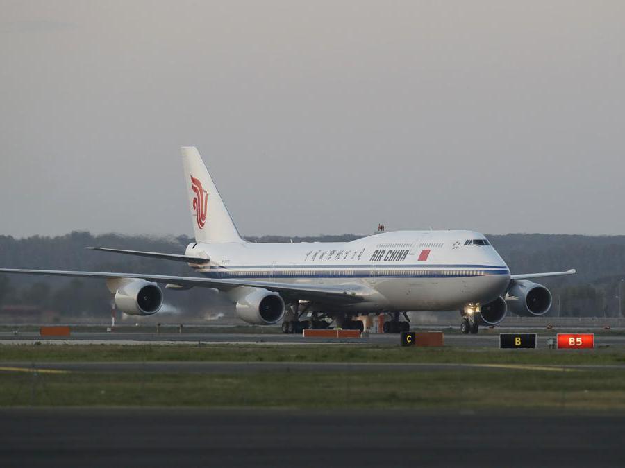 L'arrivo del presidente cinese  Xi Jinping all'aeroporto Leonardo Da Vinci di di Fiumicino il 21 marzo 2019.  (AP Photo/Andrew Medichini)
