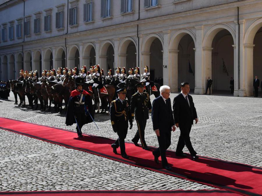 Il Presidente della Repubblica, Sergio Mattarella, con il presidente cinese  Xi Jinping al Quirinale. (Ansa / Alessandro Di Meo)