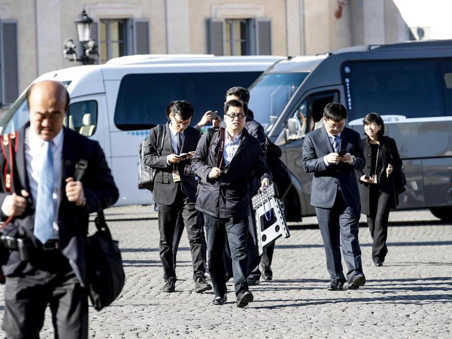 La delegazione cinese arriva al Quirinale, 22 marzxo 2019.  (Ansa / Giuseppe Lami)