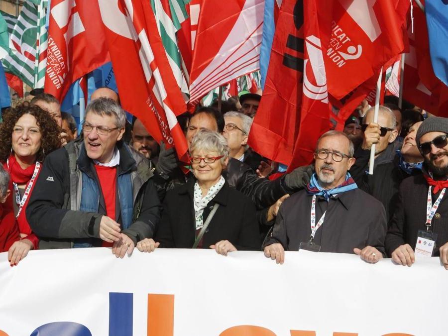 Maurizio Landini, Annamaria Furlan e Carmelo Barbagallo.