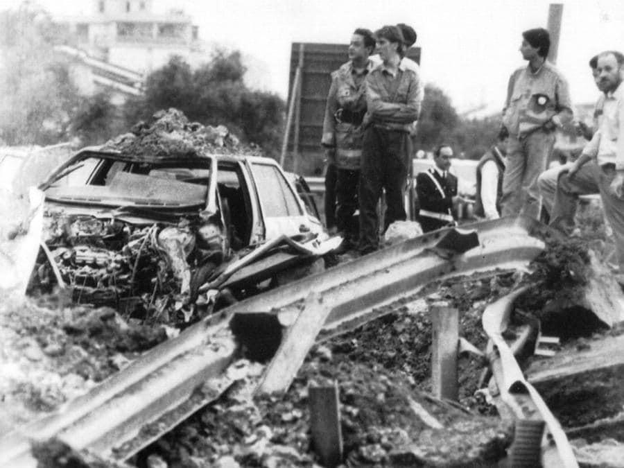 Il luogo della strage del 23 maggio 1992 (ANSA)