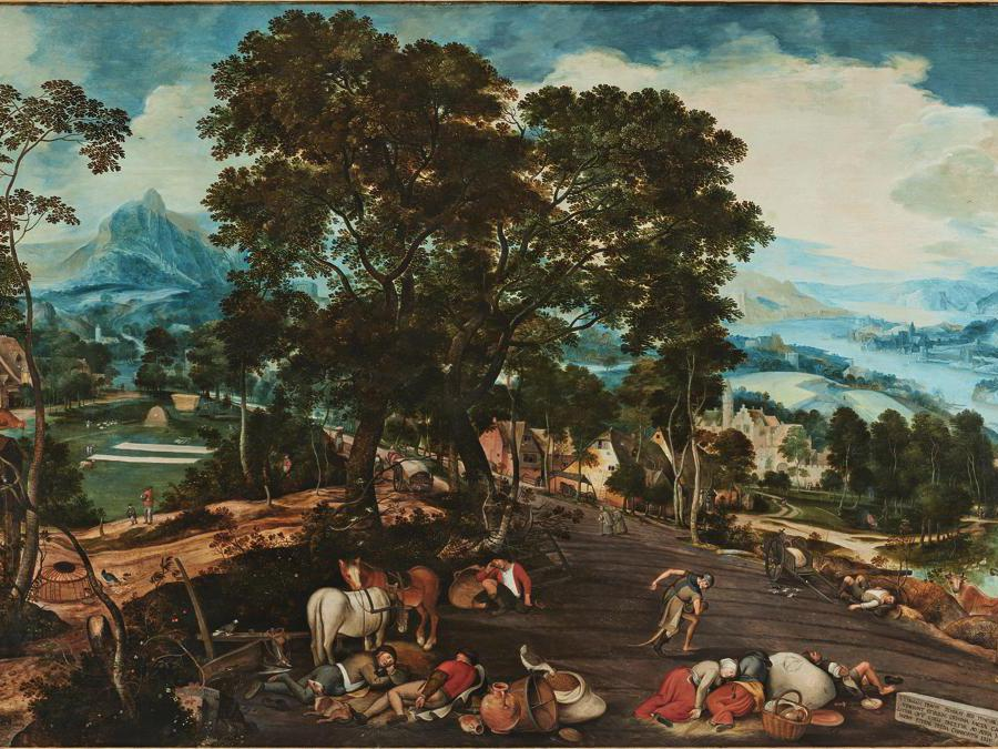 Peeter Baltens, called Custodis, Landscape with Satan sowing Tares - an Episode from the Parable of the Weeds among the Wheat (Matthew 13 25), oil on oak panel, est.£1,000,000-1,500,000
