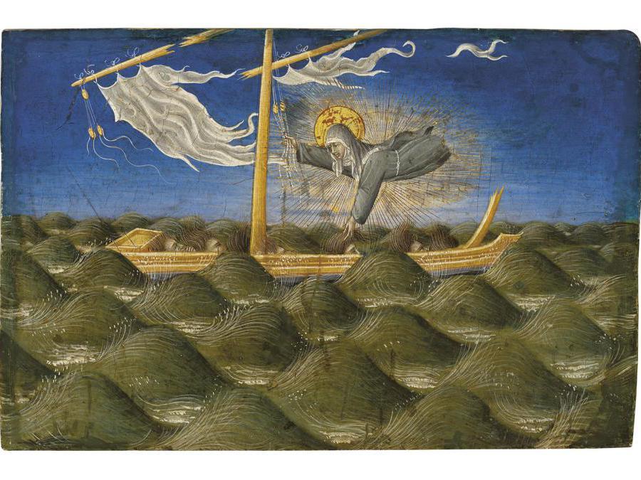 Proprietà della collezione Harry  Fuld. Giovanni di Paolo (Siena c. 1399-1482) «Santa Chiara in soccorso del naufragio». Stimato  Gbp 1,500,000 - Gbp 2,000,000 (Usd 1,932,000 - Usd 2,576,000). Prezzo realizzato Gbp 5,313,750 Tempera e oro su pannello
