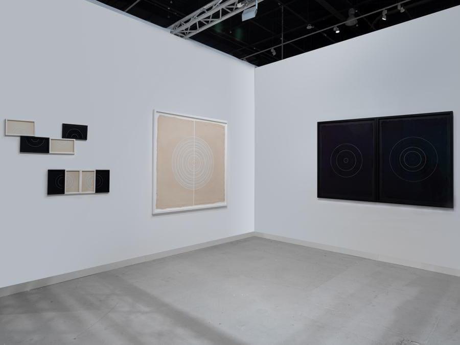 Lo stand di Athr Gallery ad Abu Dhabi Art con opere di Dana Awartani, courtesy the artist, and Athr gallery, Jeddah, fotografia di Anna Shtraus