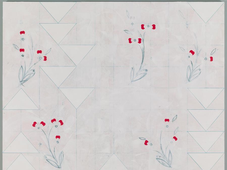 Kamrooz Aram, Ornament for Indifferent Architecture (2), 2017, olio, cera, gesso e matita su tela, 213 x 182 cm, Courtesy l'artista e Green Art Gallery