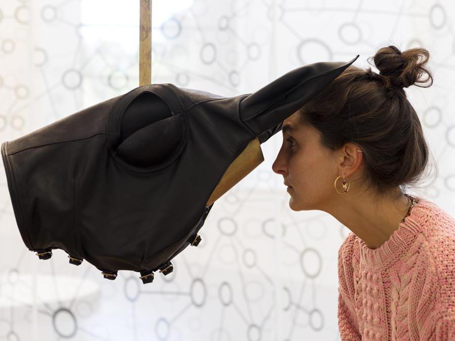 Marzia Migliora, La gabbia, 2019-2020. Elementi in ferro e legno, paglia, paraocchi, scatola per diorami, blocco di sale inciso, ferro e coda di cavallo, 265 x 300 x 300 cm. Foto di Renato Ghiazza. Courtesy: dell'artista; Museo MA*GA.