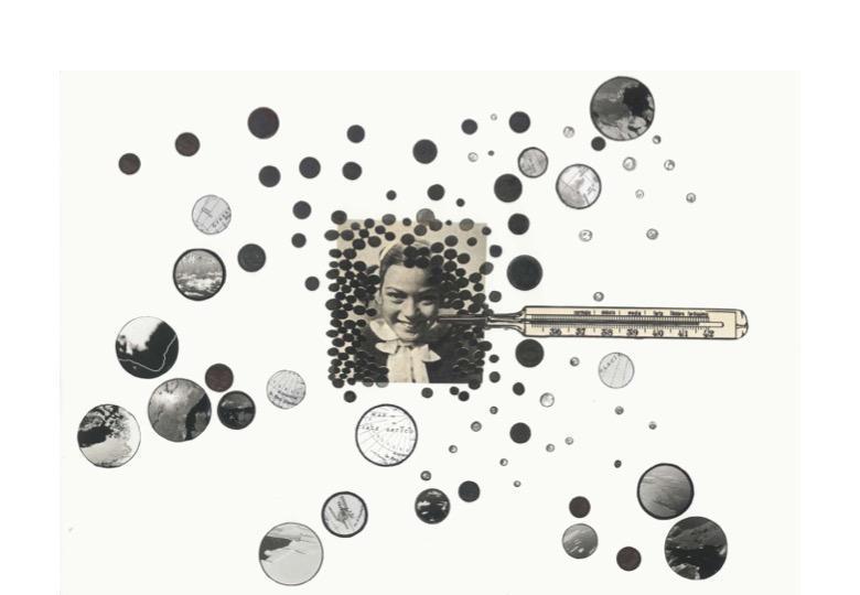 Marzia Migliora, Paradossi dell'abbondanza, 2017-2020. Set of 8 drawings, collage and mixed technique on paper, 1 steel dining hall cart, 8 wooden and glass trays cart 175x59x67cm; drawings 42x29cm each; basin 13x250cm. Courtesy dell'artista e Galleria Lia Rumma Milano/Napoli. Prezzo di ciascun carrello con 8 disegni: € 40.000 + iva.