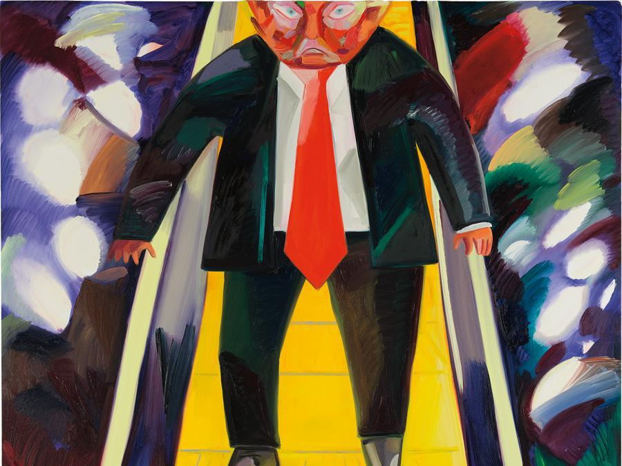 Dana Schutz, Trump Descending an Escalator, signed and dated 'Dana Schutz 2017' on the reverse, oil on canvas, 223.5 x 190.5 cm (88 x 75 in.) Painted in 2017. Estimate £380,000 - 580,000 SOLD FOR £688,000