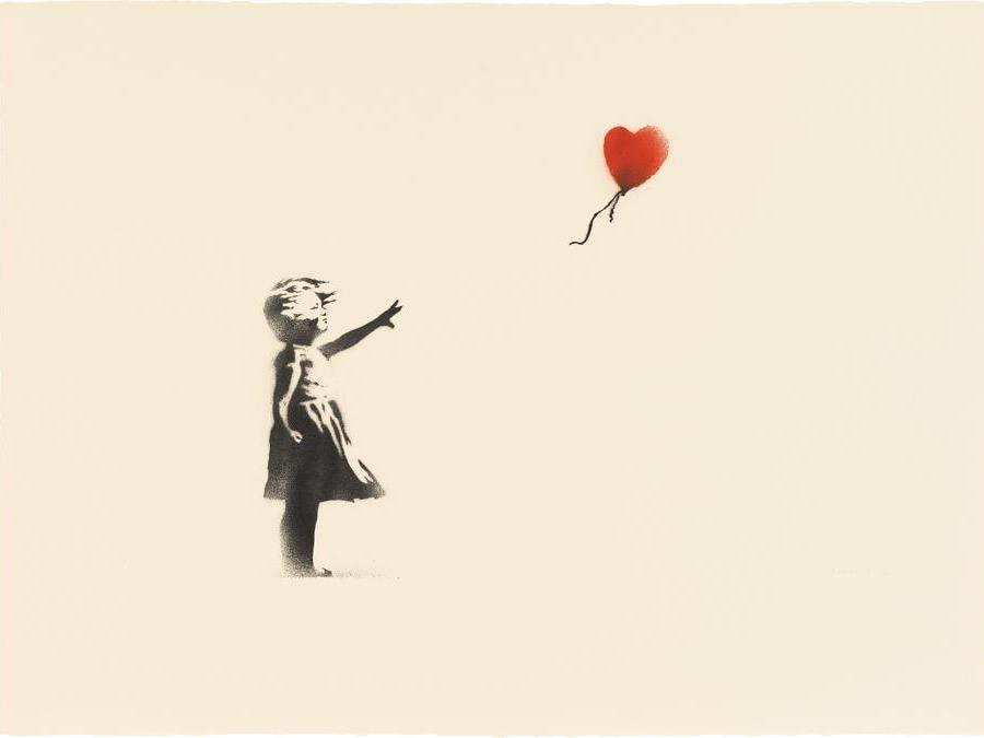 Banksy, Girl with Balloon & Morons Sepia, signed, numbered and dated 'Banksy 07 2/8' lower right, Girl with Balloon: spray paint on paper; Morons Sepia: screenprint on paper, double-sided, 56.5 x 76 cm (22 1/4 x 29 7/8 in.) Executed in 2007, this work is number 2 from an edition of 8, and is accompanied by a certificate of authenticity issued by Pest Control. Estimate £500,000 - 700,000  SOLD FOR £1,232,500