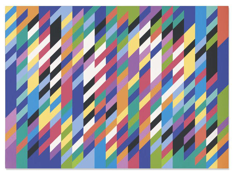 Bridget Riley (B. 1931) . Gaillard. Price realised GBP 2,291,250. Estimate GBP 1,500,000 - GBP 2,000,000; signed and dated Riley   89  (lower right turnover edge); signed, titled and dated GAILLARD Riley 1989 (on the overlap); signed, titled and dated Gaillard Riley 1989 (on the stretcher), oil on linen, 65 x 89 7/8in. (165 x 228.2cm.). Painted in 1989
