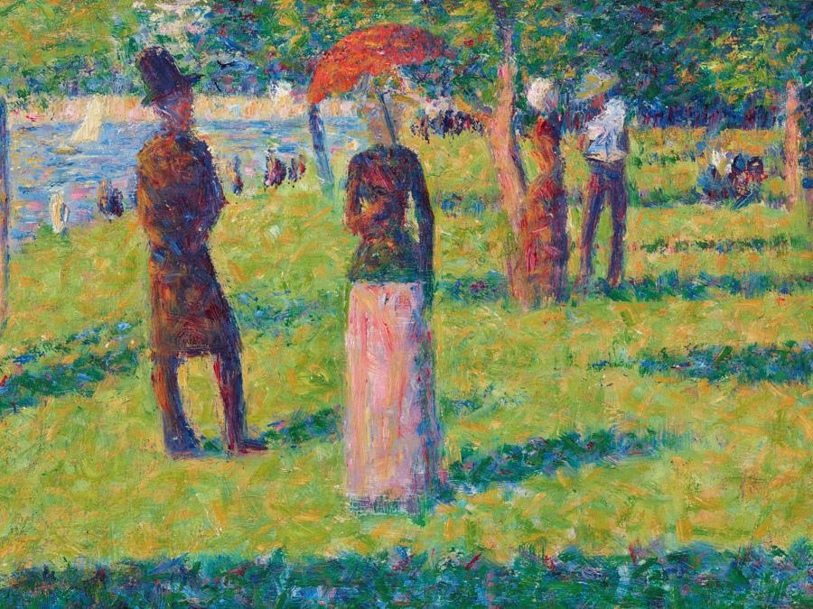 Seurat, «Paysage et personnages -  La jupe rose»
