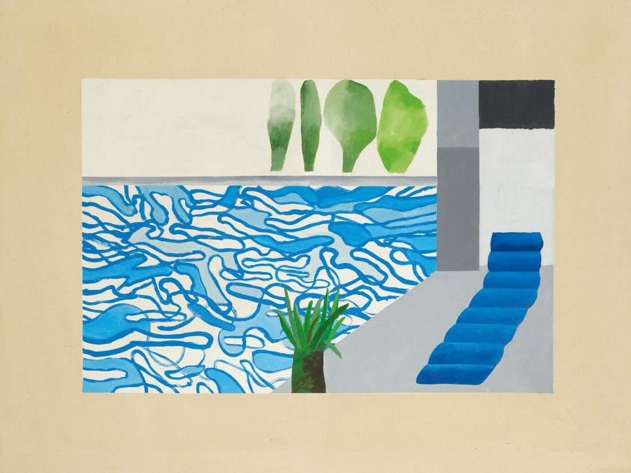 Lot 8. Property from an American Collection. David Hockney. Picture of a Hollywood Swimming Pool, acrylic on canvas, 36 1/8 by 48 1/8 in. 91.8 by 122.2 cm. Executed in 1964. Estimate $6/8 million. Sold for $ 7,211,900