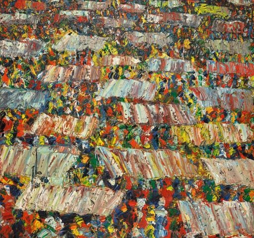 Ablade Glover, Marketscape Marketscape, 2018 .Lotto 42, Venduto per 20.000 £ (est. £ 14-18.000). Sotheby's Modern and Contemporary African Art Online