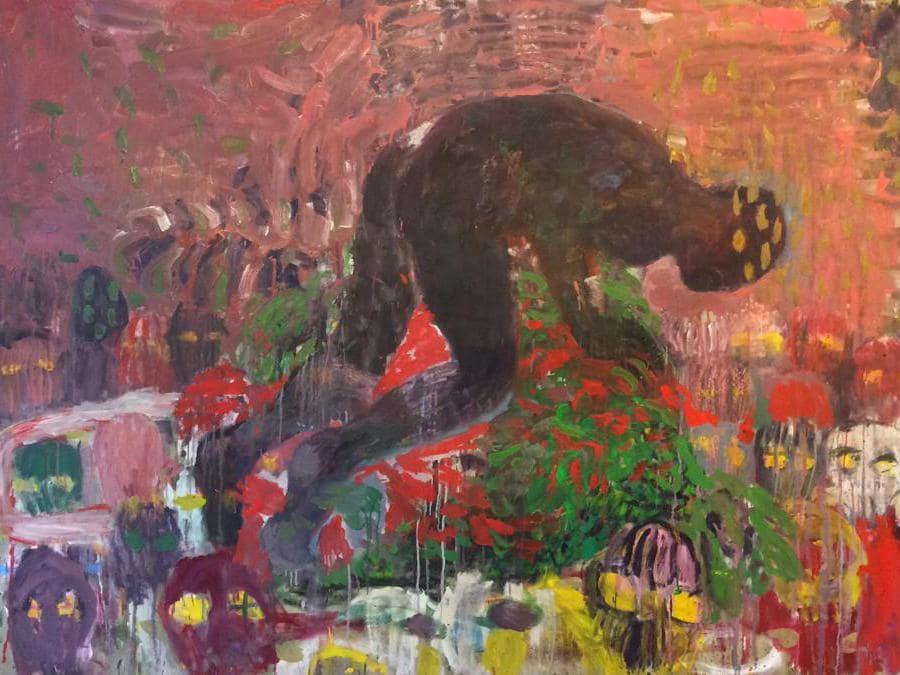 Misheck Masambu, Bed Covers, 2015, olio su tela, 205 x 150 cm, Courtesy Goodman Gallery