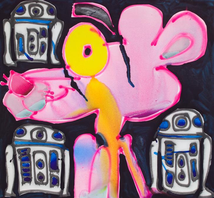 Katherine Bernhardt «Panther e  r2d2», 2019 per gentile concessione di Canada e dell'artista