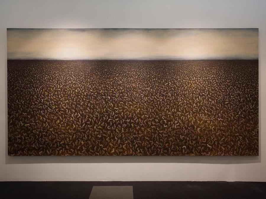 Peybak, Abrakan 51, 2019, gesso e acrilico su tela, 200 x 400 cm, allo stand di Dastan Gallery, Teer Art Fair 2019. Courtesy di Matin Jameie e Teer Art