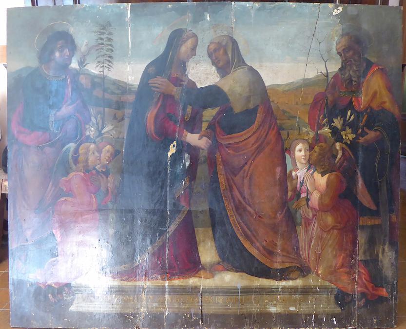 Piero di Cosimo [?], Visitazione con santi Giuseppe e Zaccaria, tavola, inizio XVI sec. (Archivio Sabap Firenze)
