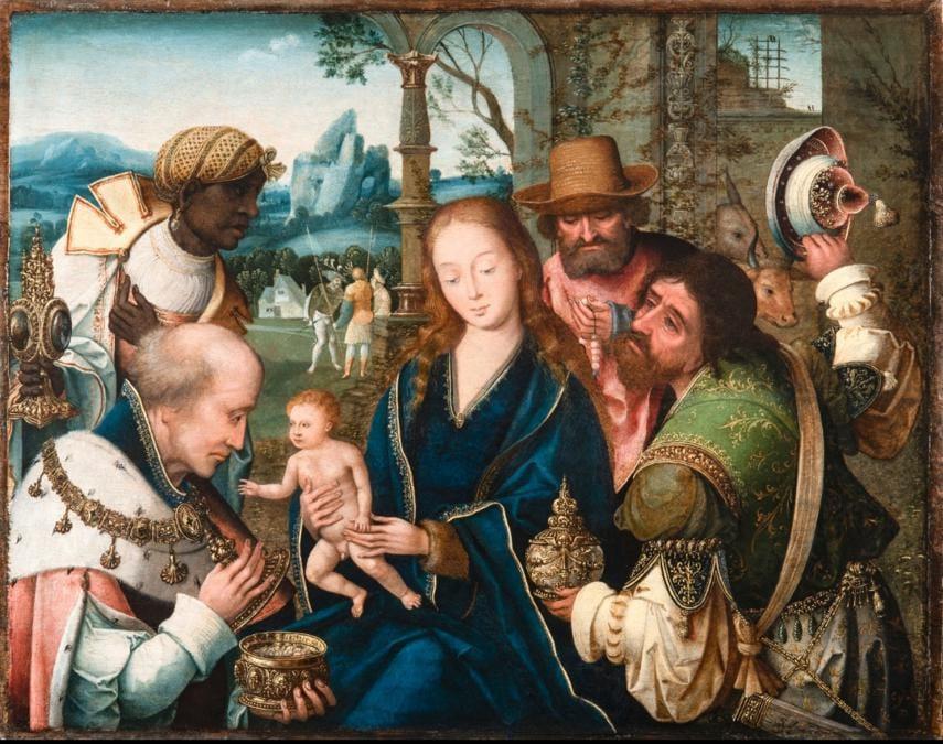 Jan van Dornicke (Master of 1518?), l'adorazione dei Magi, 56x70 cm in vendita alla galleria Caretto & Occhinegro in un range di prezzo tra i 150 e i 200 mila euro