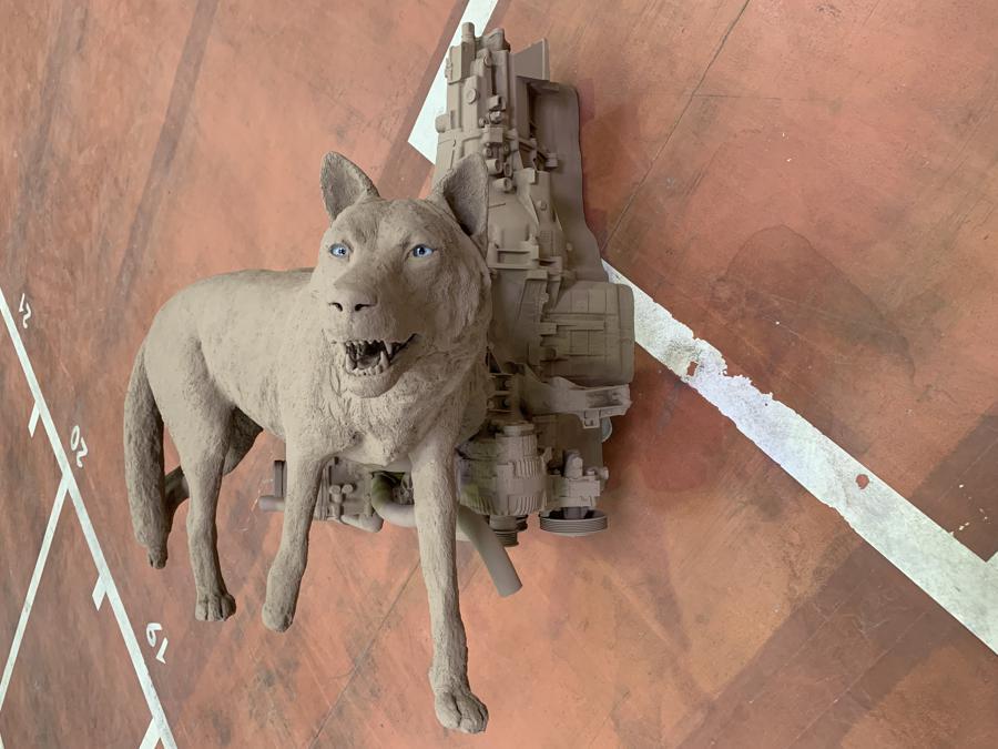 Nico Vascellari, Horse Power (Wolf), 2019, resina epossidica e vetro, veduta della mostra XV Biennale di Lione, Courtesy dell'artista