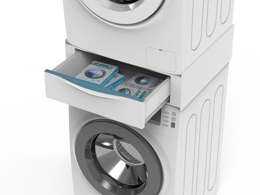 Meliconi-Torre Extra, non solo crea una struttura per lavatrici  e asciugatrici, ma anche un cassetto e un ripiano