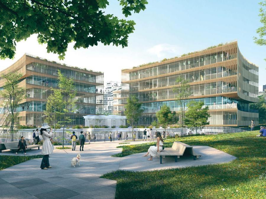Il rendering del progetto dello studio romano It's per il campus universitario di Nanterre (Grand Paris)