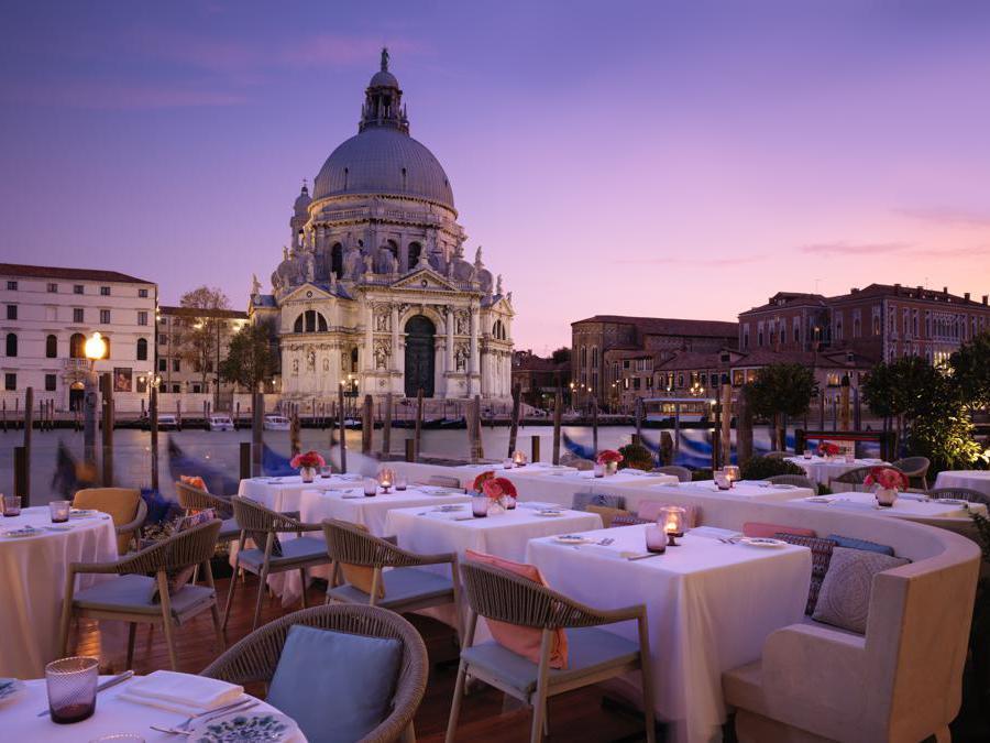 The St Regis, Venezia. Gio's Restaurant - Grand Canal Terrace at Dusk