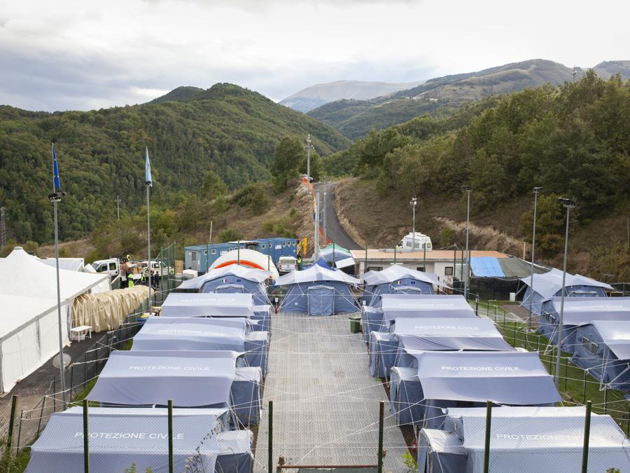 Accumoli, settembre 2016. Il campo temporaneo della Protezione Civile per ospitare gli abitanti di Accumoli (Fonte: Terraproject)